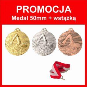 medal 50mm pływanie + wstązka tanietrofea.pl