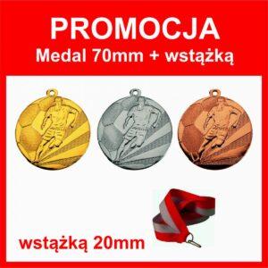 medal 70mm piłka nozna ze wstażką